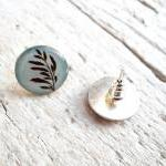 Botanical Ear Studs, Light Blue Bro..