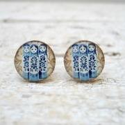 Blue Babushkas art earrings studs posts,Resin earrings, Russian folk doll