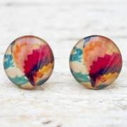 Hot Air Balloon Earrings in Pastel, Small Ear Studs Posts