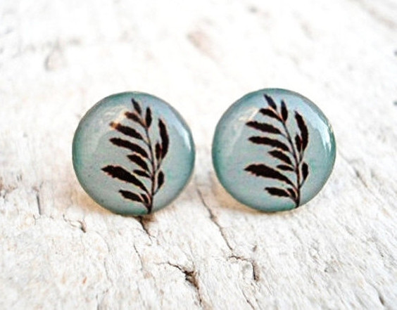 Botanical Ear Studs, Light Blue Brown Earrings, Summer Jewelry