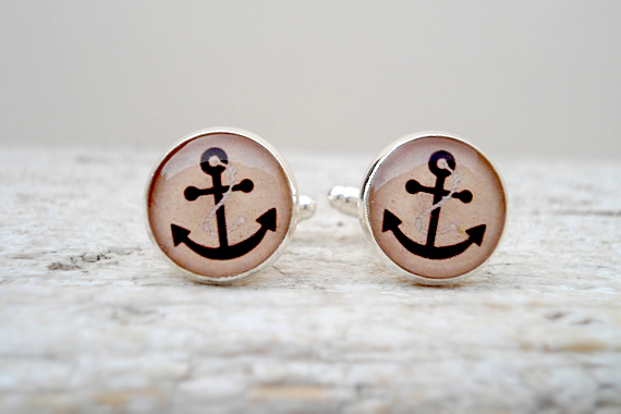 Nautical Silver Cuff Links, Anchor Cufflinks in Brown beige, Gift for him