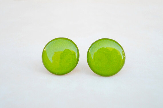 earring spring studs wedding summer neon light solid earrings hugerect posts green stud monochrome product