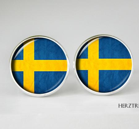 Sweden flag cufflinks, Sweden Cuff Links, men and women Accessories, yellow blue, Sweden flag jewelry, birthday gift, flag cufflinks, Sverige