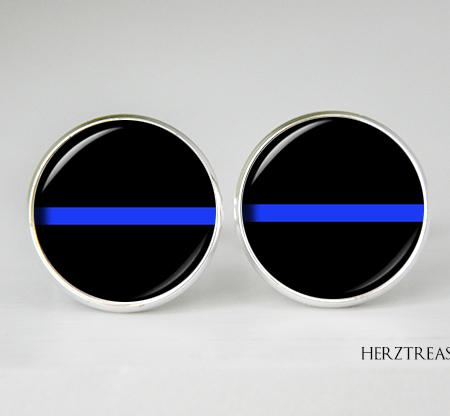 Thin Blue Line Cufflinks, Police Cuff Links, Personalized Gift for Him, Law Enforcement, Police Officer gift, Gift for Dad
