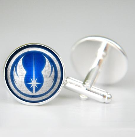Jedi Cufflinks, Silver plated, Jedi Knight Cuff links, Star wars cufflinks, cool gifts for men, wedding, star wars gift