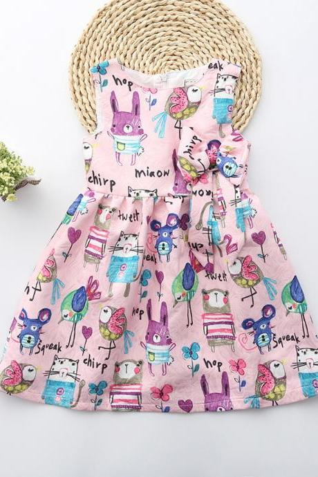 New Summer cartoons graffiti big high quality next baby girl Birthday party dress