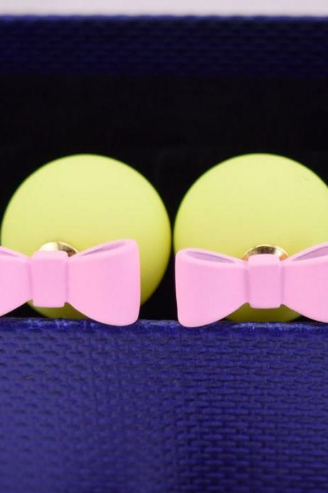 Yellow Pink Summer Style Double Sided Pear Bow Stud Earring Birthday Gift Kawaii Jewelry