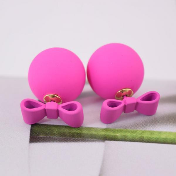 Rosy Summer Style Double Sided Pear Bow Stud Earring Birthday Gift Kawaii Jewelry