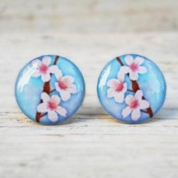 Cherry Blossom Earrings Blue White Brown, Small Studs Posts, Woodland Jewelry