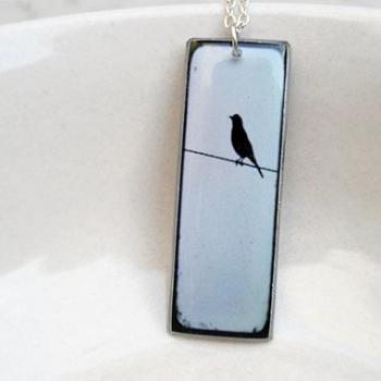 Bird Necklace Pendant in Sky Blue and Black, Silhouette Pendant